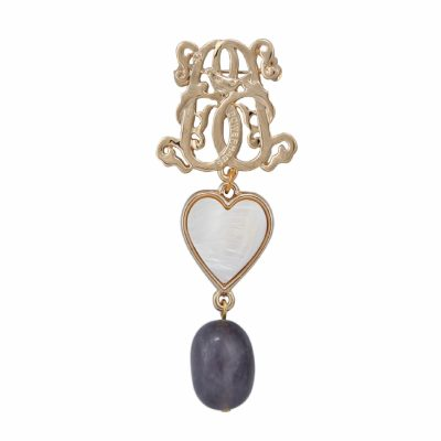 BR-L-10 Lucky Heart Brooch - Purple Fluted Agate (Gold)