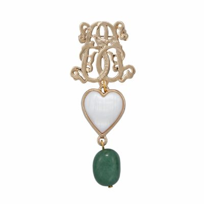 BR-L-11 Lucky Heart Brooch - Jadeite (Gold)
