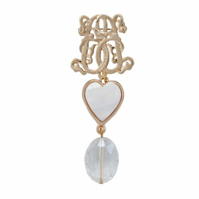 BR-L-13 Lucky Heart Brooch - Rock Crystal (Gold)