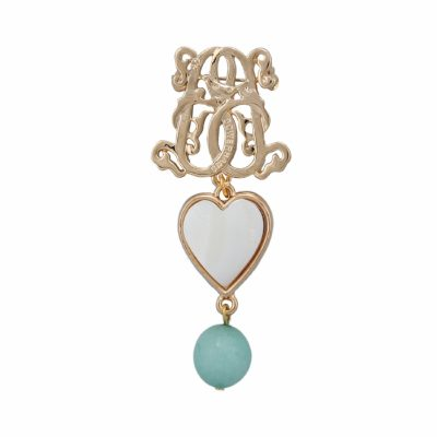 BR-L-14 Lucky Heart Brooch - Iceberg Agate (Gold)