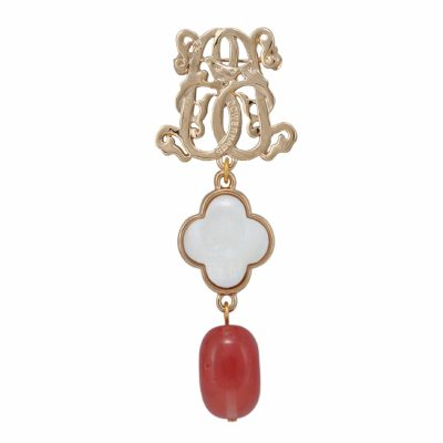 BR-L-16 Lucky Clove Brooch - Rose Logged Agate (Gold)