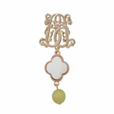 BR-L-18 Lucky Clove Brooch - Lime Matte Agate (Gold)