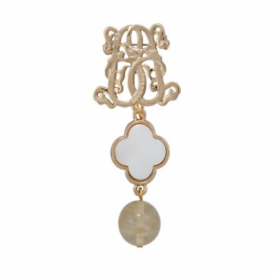 BR-L-19 Lucky Clove Brooch - Beige Fluted Agate (Gold)
