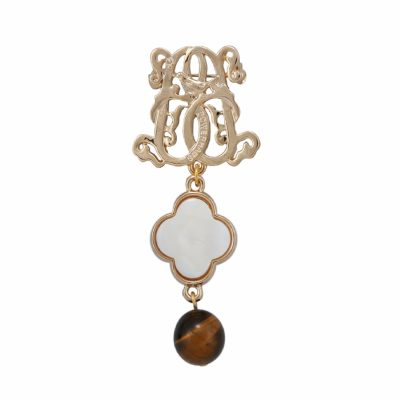 BR-L-21 Lucky Clove Brooch - Tigereye (Gold)
