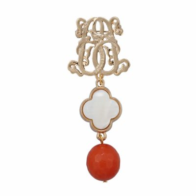 BR-L-22 Lucky Clove Brooch - Orange Agate (Gold)