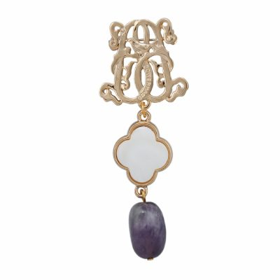 BR-L-25 Lucky Clove Brooch - Purple Fluted Agate (Gold)