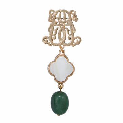 BR-L-26 Lucky Clove Brooch - Jadeite (Gold)