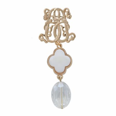 BR-L-28 Lucky Clove Brooch - Rock Crystal (Gold)