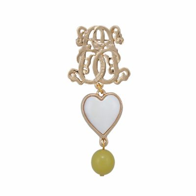 BR-L-3 Lucky Heart Brooch - Lime Matte Agate (Gold)