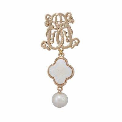 BR-L-30 Lucky Clove Brooch - Freshwater Pearl (Gold)