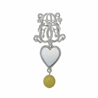 BR-L-33 Lucky Heart Brooch - Lime Matte Agate (Silver)