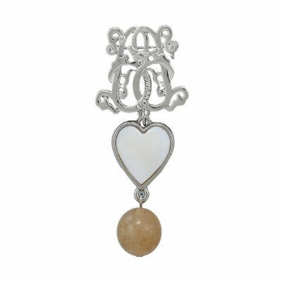 BR-L-34 Lucky Heart Brooch - Beige Fluted Agate (Silver)
