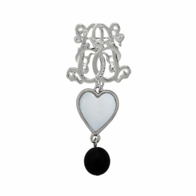 BR-L-39 Lucky Heart Brooch - Matte Onyx (Silver)