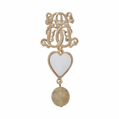 BR-L-4 Lucky Heart Brooch - Beige Fluted Agate (Gold)