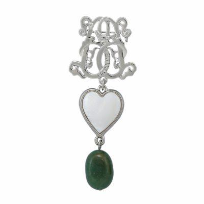 BR-L-41 Lucky Heart Brooch - Jadeite (Silver)