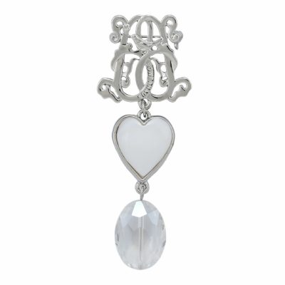 BR-L-43 Lucky Heart Brooch - Rock Crystal (Silver)