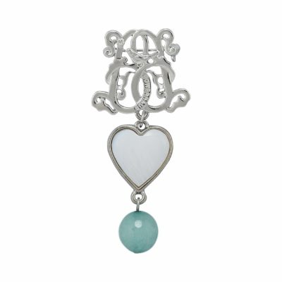 BR-L-44 Lucky Heart Brooch - Iceberg Agate (Silver)