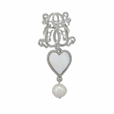 BR-L-45 Lucky Heart Brooch - Freshwater Pearl (SIlver)