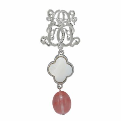 BR-L-46 Lucky Clove Brooch - Rose Logged Agate (Silver)