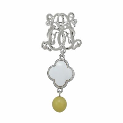 BR-L-48 Lucky Clove Brooch - Lime Matte Agate (Silver)