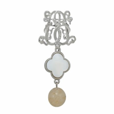 BR-L-49 Lucky Clove Brooch - Beige Fluted Agate (Silver)