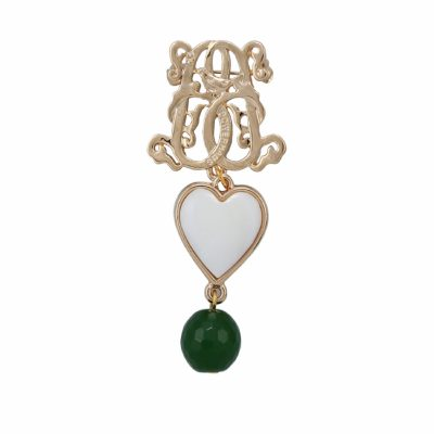 BR-L-5 Lucky Heart Brooch - Aventurine (Gold)