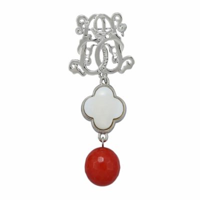 BR-L-52 Lucky Clove Brooch - Orange Agate (Silver)
