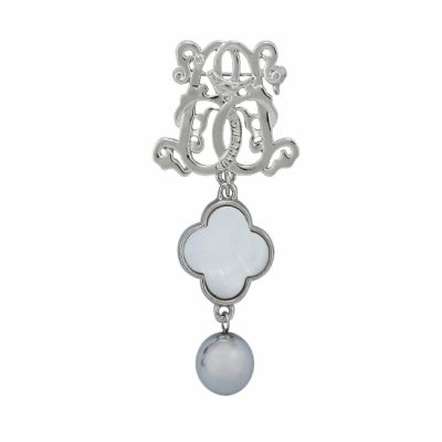BR-L-53 Lucky Clove Brooch - Rhodium Plated Hematite (Silver)