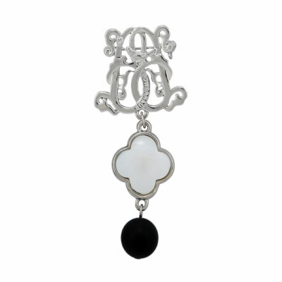 BR-L-54 Lucky Clove Brooch - Matte Onyx (Silver)