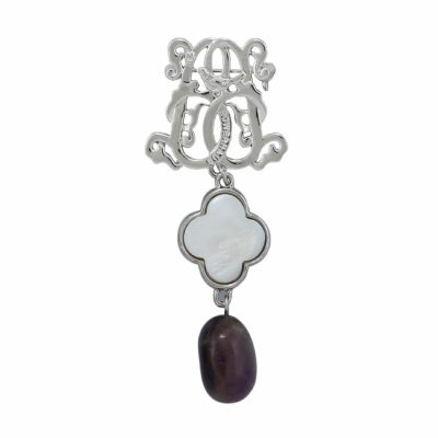BR-L-55 Lucky Clove Brooch - Purple Fluted Agate (Silver)