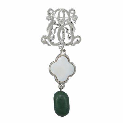 BR-L-56 Lucky Clove Brooch - Jadeite (Silver)