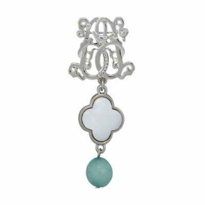 BR-L-59 Lucky Clove Brooch - Iceberg Agate (Silver)