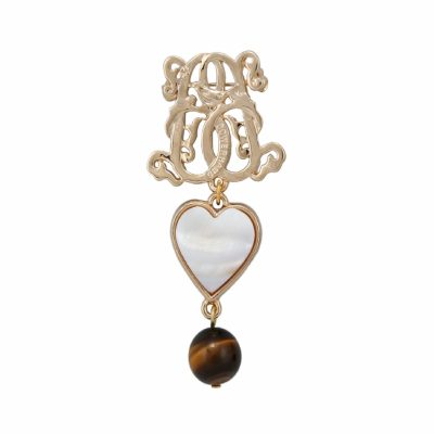 BR-L-6 Lucky Heart Brooch - Tigereye (Gold)