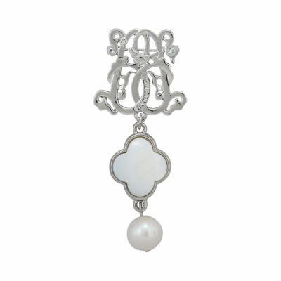 BR-L-60 Lucky Clove Brooch - Freshwater Pearl (SIlver)