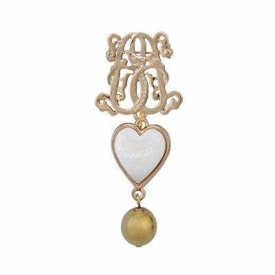 BR-L-8 Lucky Heart Brooch - Gold Plated Hematite (Gold)