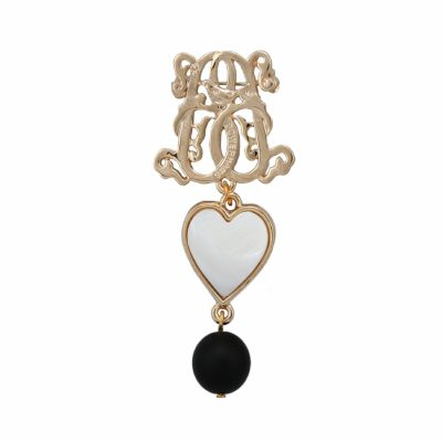 BR-L-9 Lucky Heart Brooch - Matte Onyx (Gold)