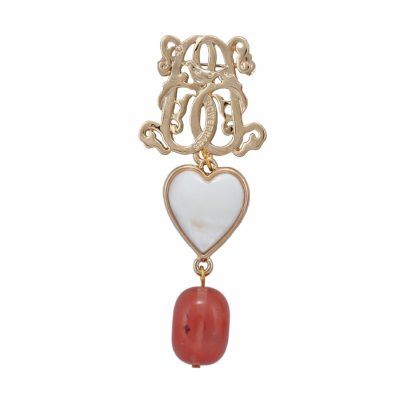 Lucky Heart Brooch - Rose Logged Agate (Gold)