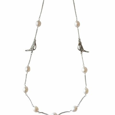 N-BB-24 BOWER BIRD CHAIN NECKLACE SILVER_2