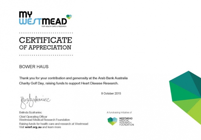 ABA Charity Golf Day Certificate_Bower_Haus