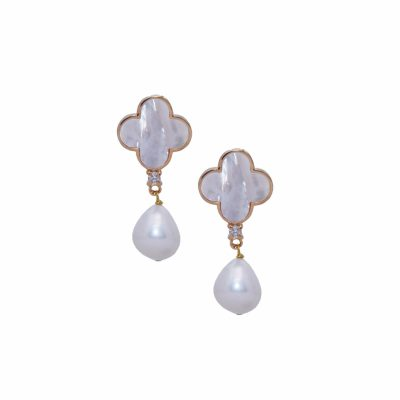 E-L-49 20MM MOTHER OF PEARL LUCKY EARRINGS