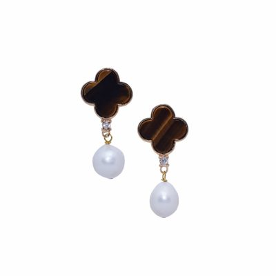 E-L-50 20MM TIGER EYE LUCKY EARRINGS