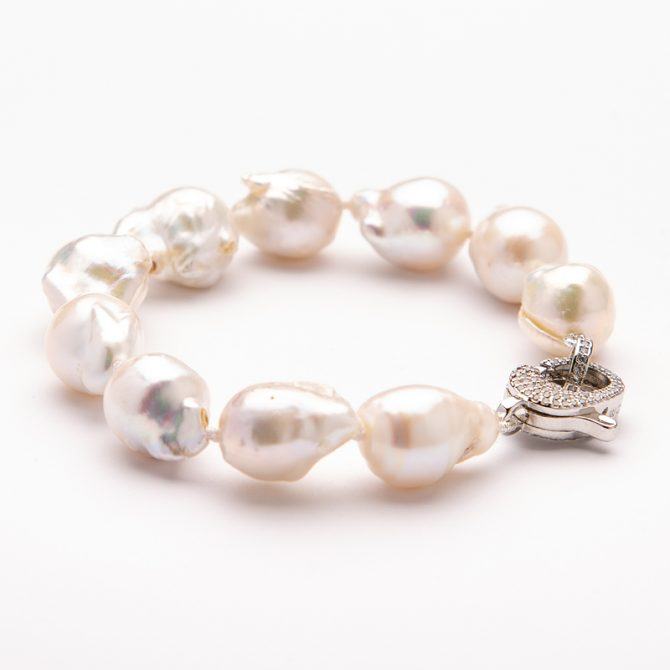 B-PS-29 15mm Baroque White Pearl Pave Clasp Bracelet