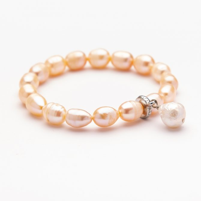 B-PS-37 10MM OVAL CHAMPAGNE PEARL CHARM BRACELET