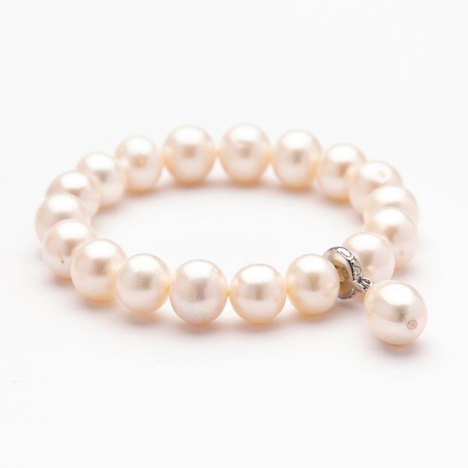 B-PS-44 10mm Round White Pearl Charm Bracelet