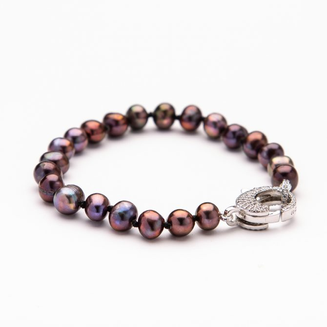 B-PS-5 SEMI ROUND PEACOCK PEARL PAVE CLASP BRACELET