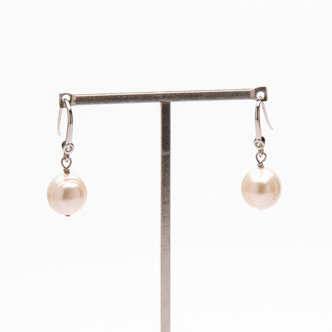 E-PS-10 12mm White Ringed Pave Pearl Earrings