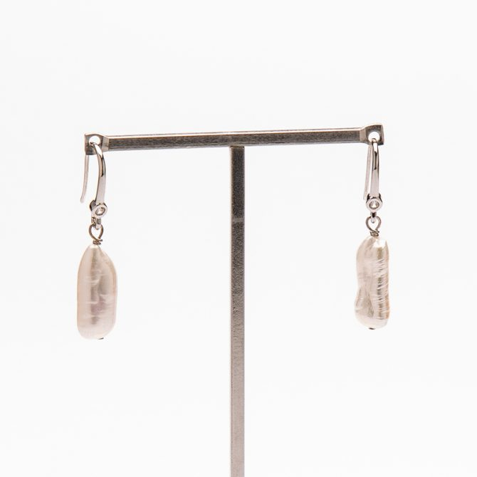 E-PS-15 20mm White Logged Pave Pearl Earrings