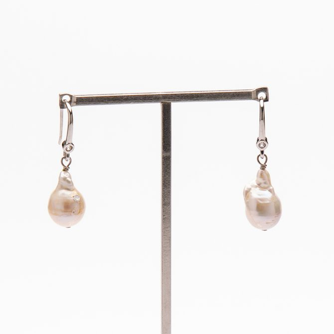 E-PS-16 15mm White Baroque Pave Pearl Earrings