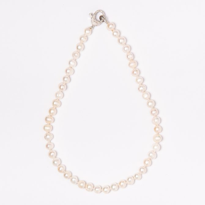 N-PS-1 7mm Semi Round White Pearl Necklace (40cm)