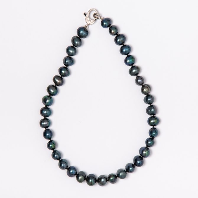 N-PS-13 10MM RINGED IRIDESCENT BLUE PEARL NECKLACE